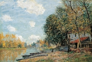 Moret, The Banks of the River Loing painting reproduction, Alfred Sisley