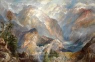 Morning in the Sierras, Nevada painting reproduction, Thomas Moran