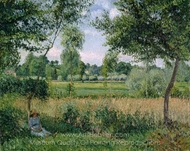 Morning Sunlight Effect, Eragny painting reproduction, Camille Pissarro