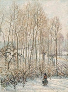 Morning Sunlight on the Snow, Eragny-sur-Epte painting reproduction, Camille Pissarro