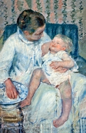 Mother About to Wash Her Sleepy Child painting reproduction, Mary Cassatt