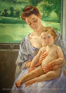 Mother and Child in the Conservatory painting reproduction, Mary Cassatt