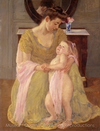 Mother and Child with a Rose Scarf painting reproduction, Mary Cassatt