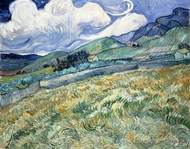 Mountainous Landscape Behind Saint-Paul Hospital painting reproduction, Vincent Van Gogh