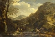 Mountainous Landscape with Figures painting reproduction, Salvator Rosa