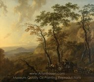 Mountainous Landscape with Muleteers painting reproduction, Nicolaes Berchem