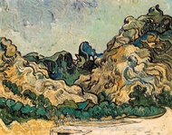 Mountains at Saint-Remy with Dark Cottage painting reproduction, Vincent Van Gogh