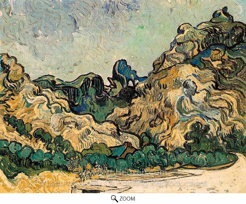 Vincent Van Gogh, Mountains at Saint-Remy with Dark Cottage oil painting reproduction