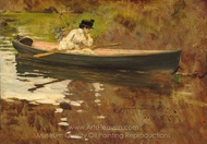 Mrs. Chase in Prospect Park painting reproduction, William Merritt Chase