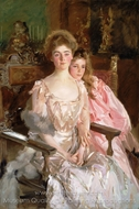Mrs. Fiske Warren (Gretchen Osgood) and Her Daughter Rachel painting reproduction, John Singer Sargent