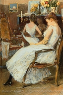 Mrs. Hassam and Her Sister painting reproduction, Childe Hassam