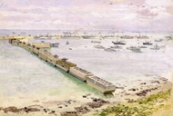 Mulberry Harbour, Arromanches, Normandy Landing painting reproduction, Stephen Bone