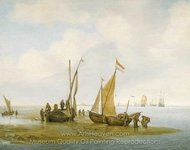 Mussel Fishing painting reproduction, Jan Porcellis