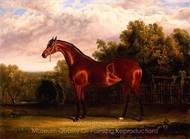 Negotiator, a Bay Horse in a Landscape painting reproduction, John Frederick Herring Sr.