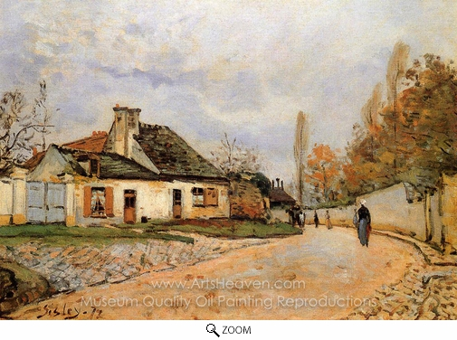 Alfred Sisley, Neighborhood Street in Louveciennes oil painting reproduction