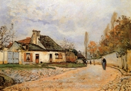 Neighborhood Street in Louveciennes painting reproduction, Alfred Sisley