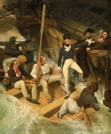 Nelson Boarding a Captured Ship, 20 November 1777 painting reproduction, Richard Westall Nelson