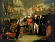Nelson Receiving the Surrender of the San Jose at the Battle of Cape St. Vincent painting reproduction, Daniel Orme
