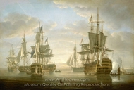 Nelson's Flagships at Anchor painting reproduction, Nicholas Pocock