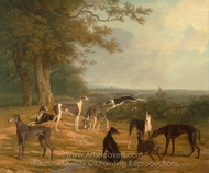 Nine Greyhounds in a Landscape painting reproduction, Jacques Laurent Agasse