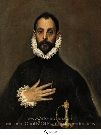 El Greco, Nobleman with His Hand on His Chest oil painting reproduction