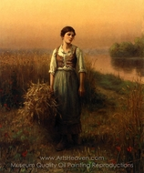 Normandy Maid painting reproduction, Daniel Ridgway Knight