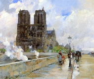 Notre Dame Cathedral, Paris painting reproduction, Childe Hassam
