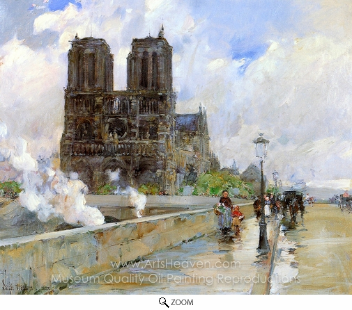 Childe Hassam, Notre Dame Cathedral, Paris oil painting reproduction