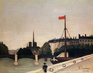 Notre Dame: View of the Ile Saint-Louis painting reproduction, Henri Rousseau