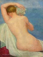 Nude Leaning on Chair painting reproduction, Angel Zarraga