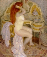 Nude Seated at Her Dressing Table painting reproduction, Frederick Carl Frieseke