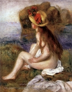 Nude with a Straw Hat painting reproduction, Pierre-Auguste Renoir