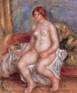 Nude Woman on Gree Cushions painting reproduction, Pierre-Auguste Renoir
