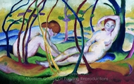 Nudes Under Trees painting reproduction, Franz Marc