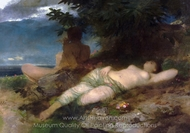 Nymph and Satyr painting reproduction, Arnold Bocklin