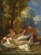 Nymph with Satyrs painting reproduction, Nicolas Poussin