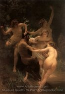 Nymphs and Satyr (Nymphes et Satyre) painting reproduction, William A. Bouguereau