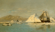 Off Greenland, Whaler Seeking Open Water painting reproduction, William Bradford