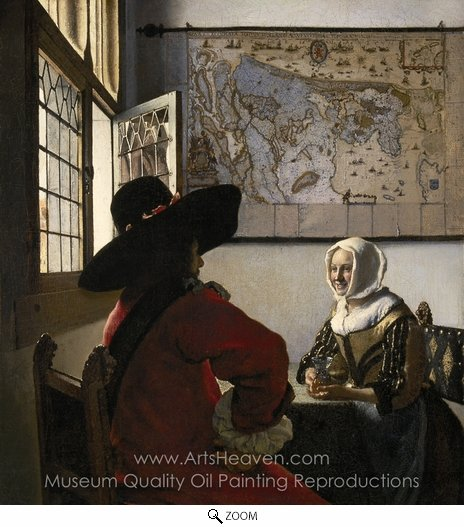 Jan Vermeer, Officer with a Laughing Girl oil painting reproduction