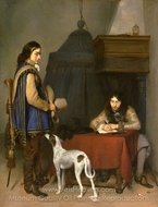 Officer Writing a Letter, with a Trumpeter painting reproduction, Gerard Ter Borch