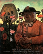 Old Poorhouse Woman with a Glass Bottle painting reproduction, Paula Modersohn-Becker