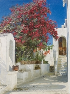 Oleanders in Bloom, Capri painting reproduction, Peder Severin Kroyer