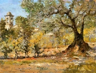 Olive Trees, Florence painting reproduction, William Merritt Chase