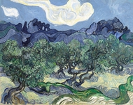 Olive Trees with the Alpilles in the Background painting reproduction, Vincent Van Gogh