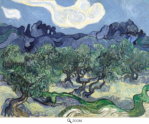 Vincent Van Gogh, Olive Trees with the Alpilles in the Background oil painting reproduction