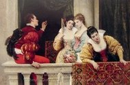 On the Balcony painting reproduction, Eugene De Blaas
