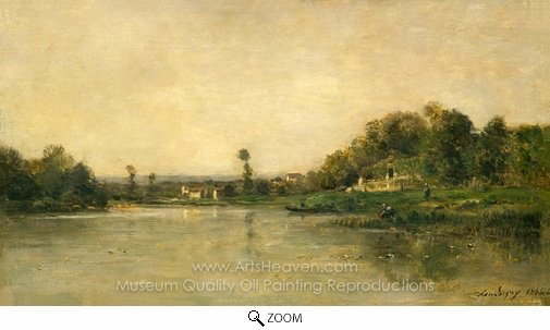 Charles Daubigny, On the Banks of the Oise oil painting reproduction