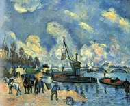 On the Banks of the Seine at Bercy painting reproduction, Paul C�zanne