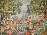 On the Beach No. 3 painting reproduction, Maurice Prendergast