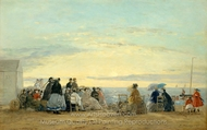 On the Beach, Sunset painting reproduction, Eugene-Louis Boudin